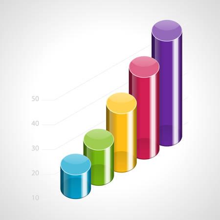 directiva: El progreso del crecimiento del gr�fico 3d ilustraci�n Vectores