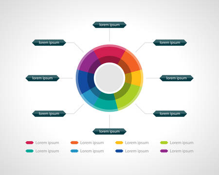Segmented colorful pie chart illustration