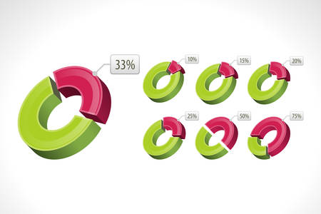 Set segmented circle pie charts illustration  Vector