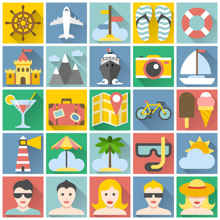 Summer icons set  Flat design vacation and beach holidays Vector