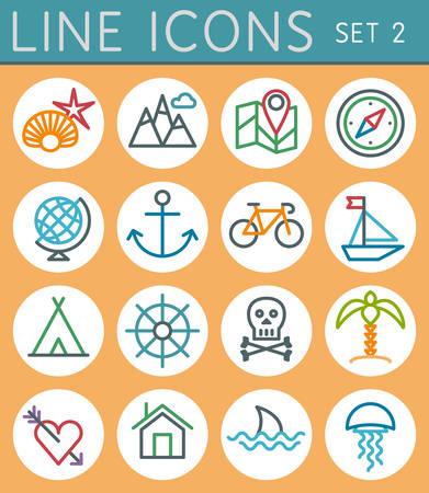 Travel line icons set  Vector web design elements  Vector