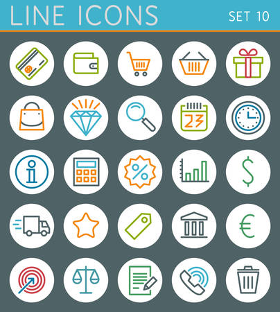 Shopping line icons set  Sale vector web design elements Vector