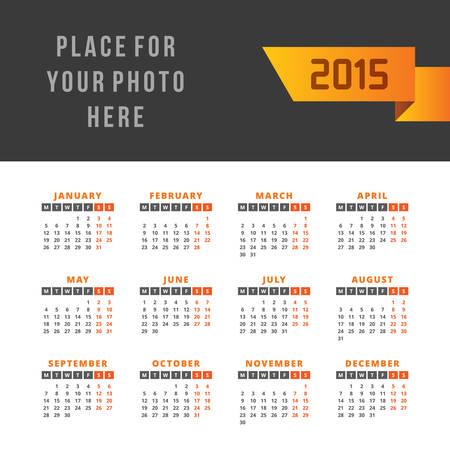 calendario octubre: Calendario 2015 del vector plantilla de diseño