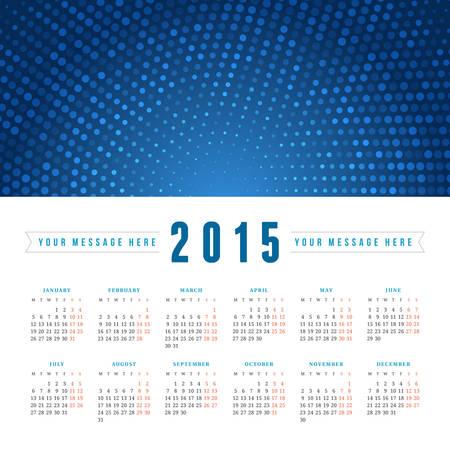 Calendar 2015 vector design template week starts monday Vector