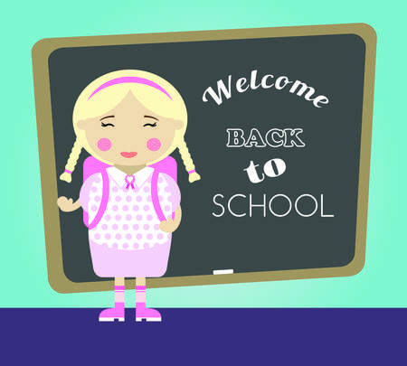 cartoon school girl: Cartoon school girl vector background. Back to school illustration.