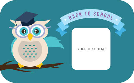cartoon teenager: Cartoon school owl vector background. Back to school illustration.  Illustration