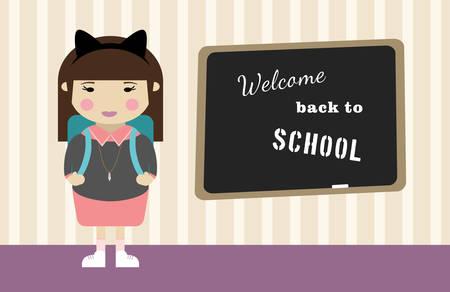 cartoon school girl: La escuela de dibujos animados chica vector de fondo. Volver a la ilustraci�n de la escuela.
