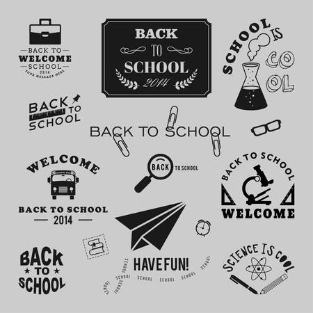 Back to School vector design elements. Retro style and vintage ornaments. Labels, badges, stamps and other designs Vector