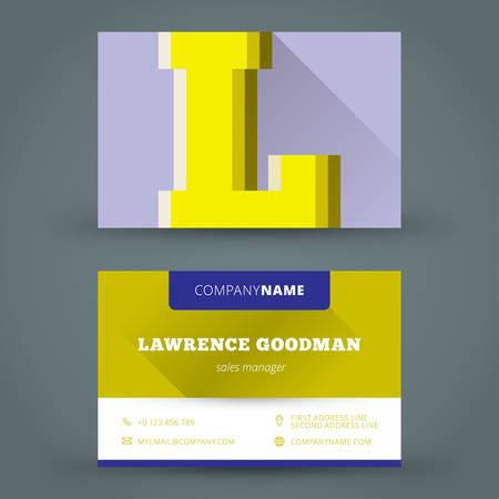 Business card design template vector background color letter Vector