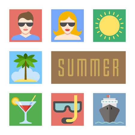 Summer icons set. Flat design vacation and beach holidays  Vector