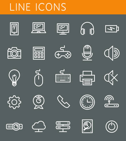 Line icons set. Technology media objects. Vector web design elements  Vector