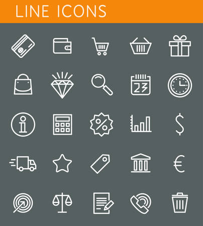 bank cart: Line icons set. Shopping and sale objects. Vector web design elements  Illustration