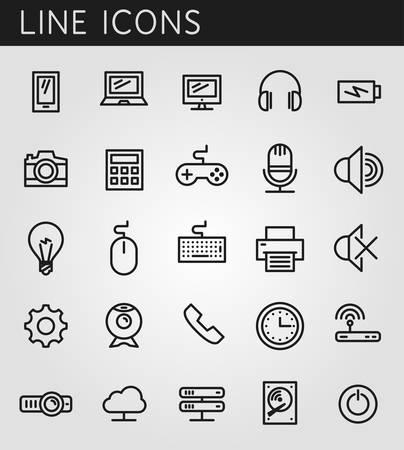 photo printer: Line icons set. Technology media objects. Vector web design elements