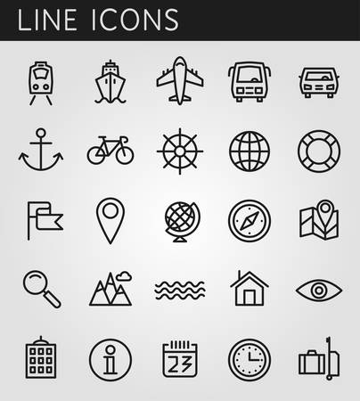 Line icons set. Summer holidays, vacation and travel objects. Vector web design elements