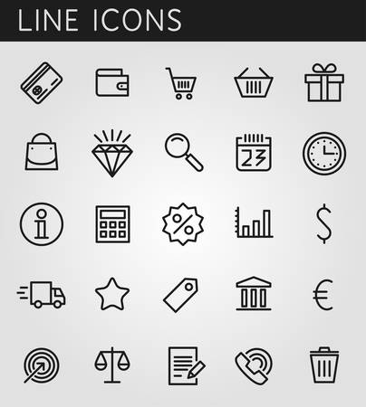 Line icons set. Shopping and sale objects. Vector web design elements  Illustration