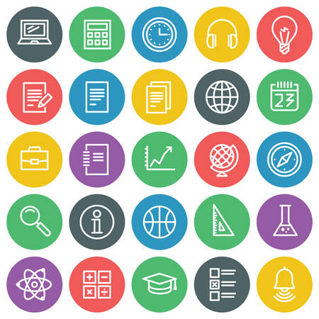 study icon: Vector icons set. For web site design and mobile apps.