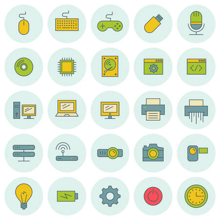 photo printer: Vector icons set. For web site design and mobile apps.