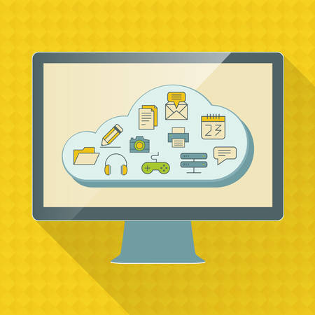 Cloud computing service infographics with icons and device Vector