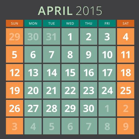 week planner: Calendar planner 2015 template week starts sunday Illustration