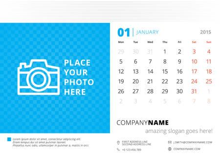 Desk calendar 2015 vector template week starts monday