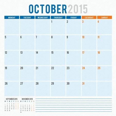 october calendar: Calendar planner 2015 template week starts monday Illustration