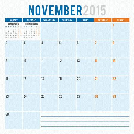 Calendar planner 2015 template week starts monday Illustration