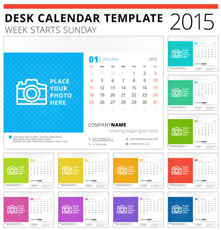 Desk calendar 2015 vector template week starts sunday Vector