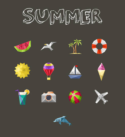 dive trip: Summer icons set. Geometric design vacation and travel holidays  Illustration