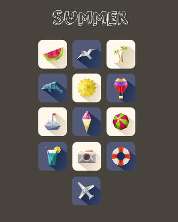 Summer icons set. Geometric design vacation and travel holidays  Vector