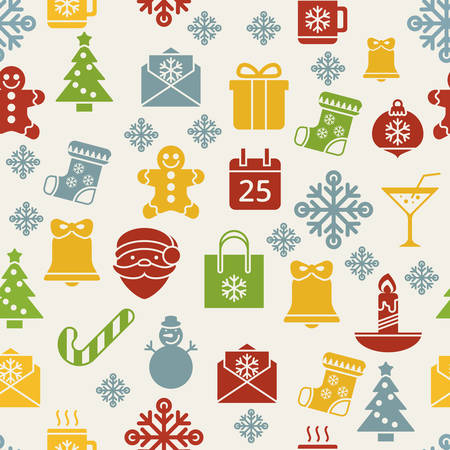Flat christmas icons seamless pattern background Vector
