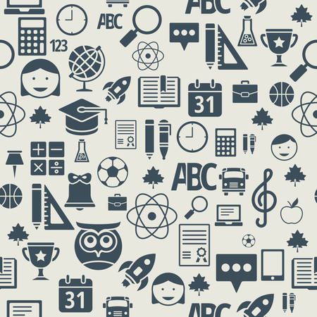 School and education flat design icons seamless background Vector