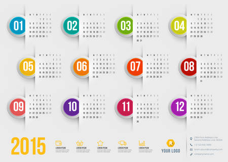 Calendar 2015 vector template week starts monday Vector