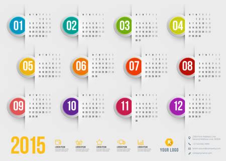 calendario octubre: Calendario 2015 del vector plantilla de semana empieza el lunes