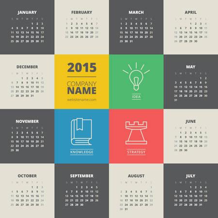 calendario septiembre: Calendario 2015 del vector plantilla de semana empieza el lunes