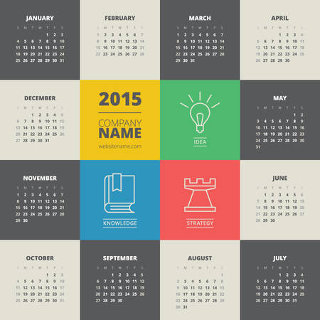 Calendar 2015 vector template week starts monday