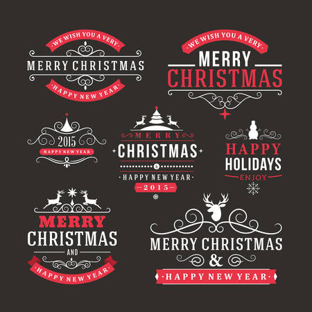 Christmas decoration set of calligraphic and typographic design elements, labels, symbols, icons, objects and holidays wishes Illustration