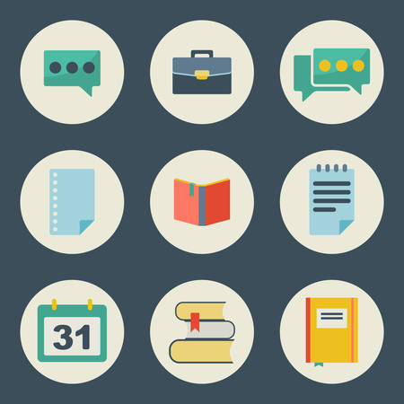 pictogramm: School and education icons flat design vector set  Illustration