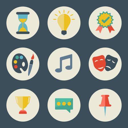 pictogramm: School and education icons flat design