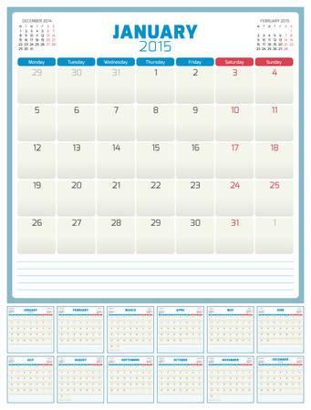 Calendar planner 2015 template week starts monday Vector