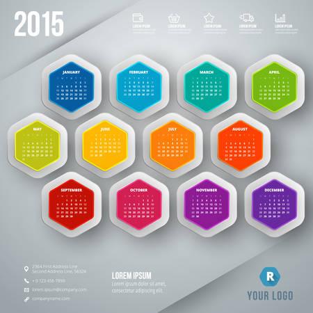 Calendar 2015 vector template week starts sunday Illustration