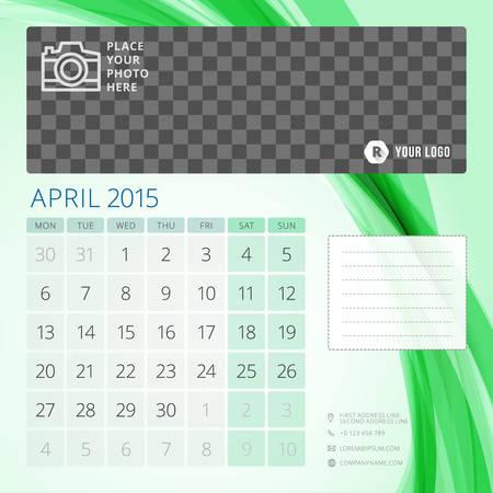 4월: Calendar 2015 April template  일러스트