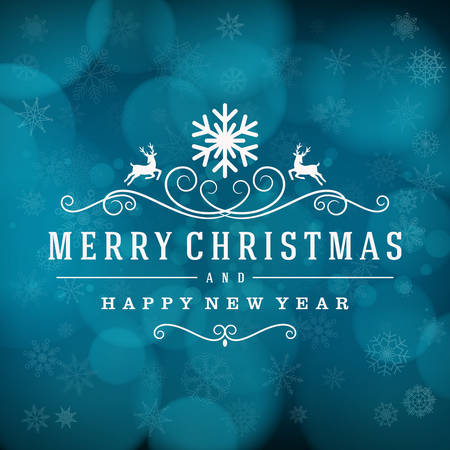 Merry Christmas message and light background with snowflakes. Illustration