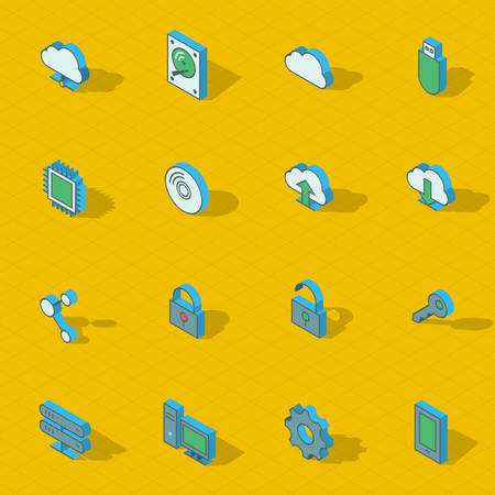 Colorful vector isometric flat design icon set.  Vector