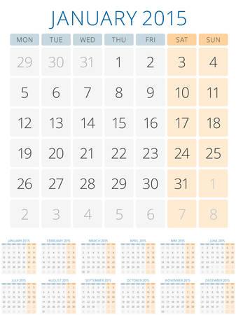 Calendar 2015 12 months vector design template. Week starts monday Vector