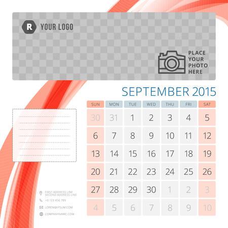 calendar template 2015 september