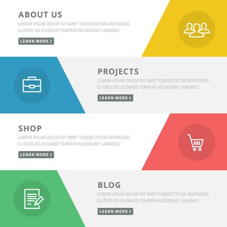 Flat design concept for website template - about us, projects, shop, blog Ilustração