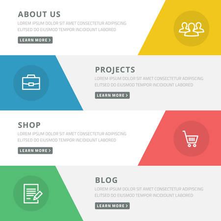Flat design concept for website template - about us, projects, shop, blog Illustration