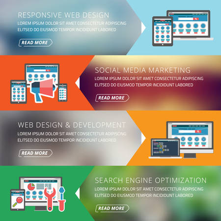 responsive: Flat design concept for responsive web design and seo