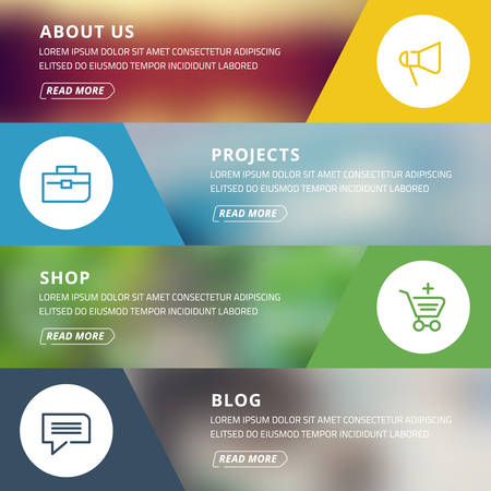 about us: Flat design concept for website template - about us, projects, shop, blog Illustration