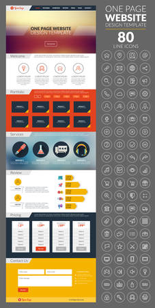 website icons: One page website template with icon set. With blur background, portfolio and pricing Illustration